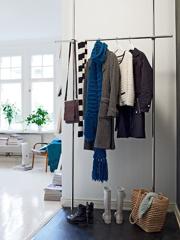apartments, Cool Cloth Hanger From Metallic Steel With Jacket And Boots With Wicker Bag And Scarf: White Beauty Scandinavian Apartments