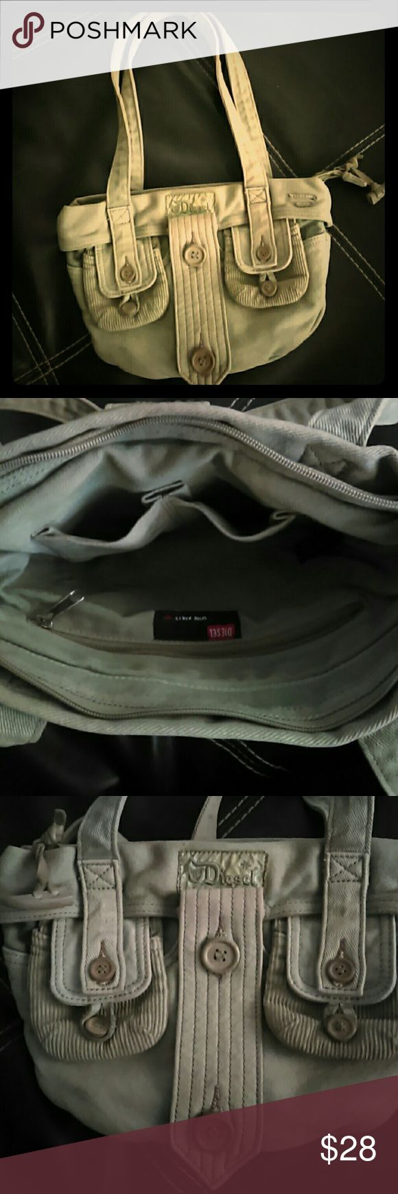 Diesel purse Soooo cute. Love it but don't use it enough to keep :( light khaki green , adorned with buttons and lots of pockets! Diesel Bags Shoulder Bags