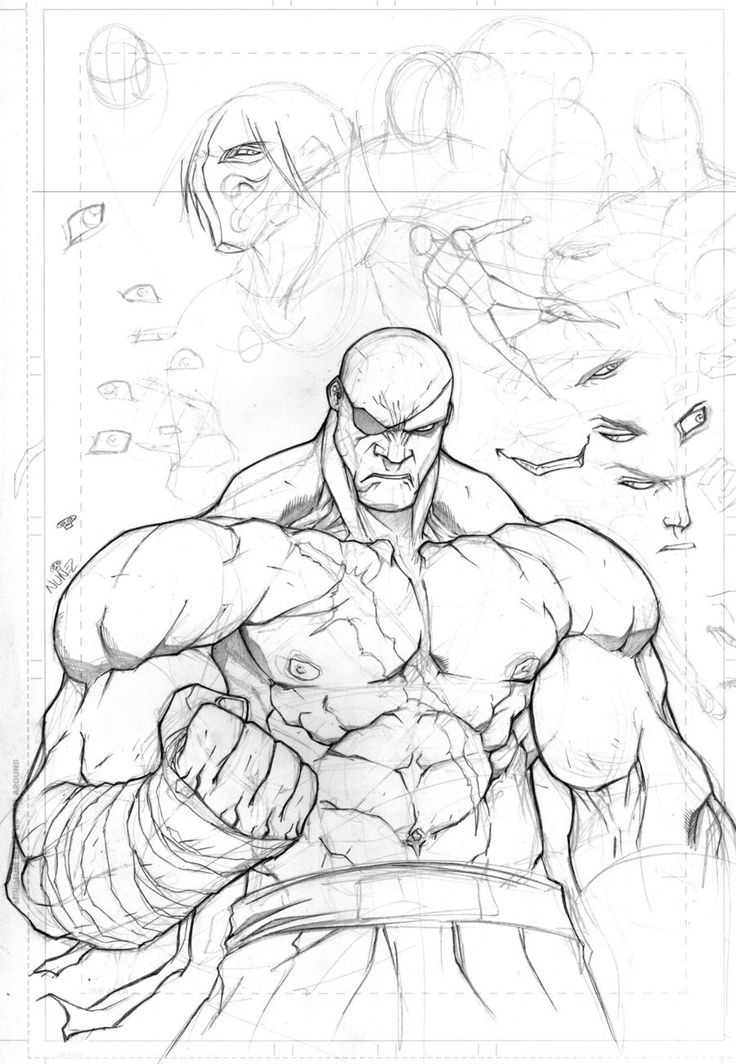 just a sketch of sagat looking massive