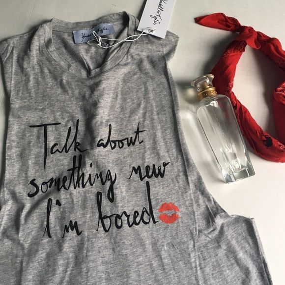 BNWT Kendall & Kylie tank Kendall + Kylie BNWT grey tank• size XS (fits like a XS/S) • talk about something I'm bored  Kendall & Kylie Tops Tank Tops