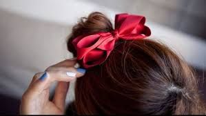 Do up your locks in a red ribbon for a quick and fresh X-mass look!
