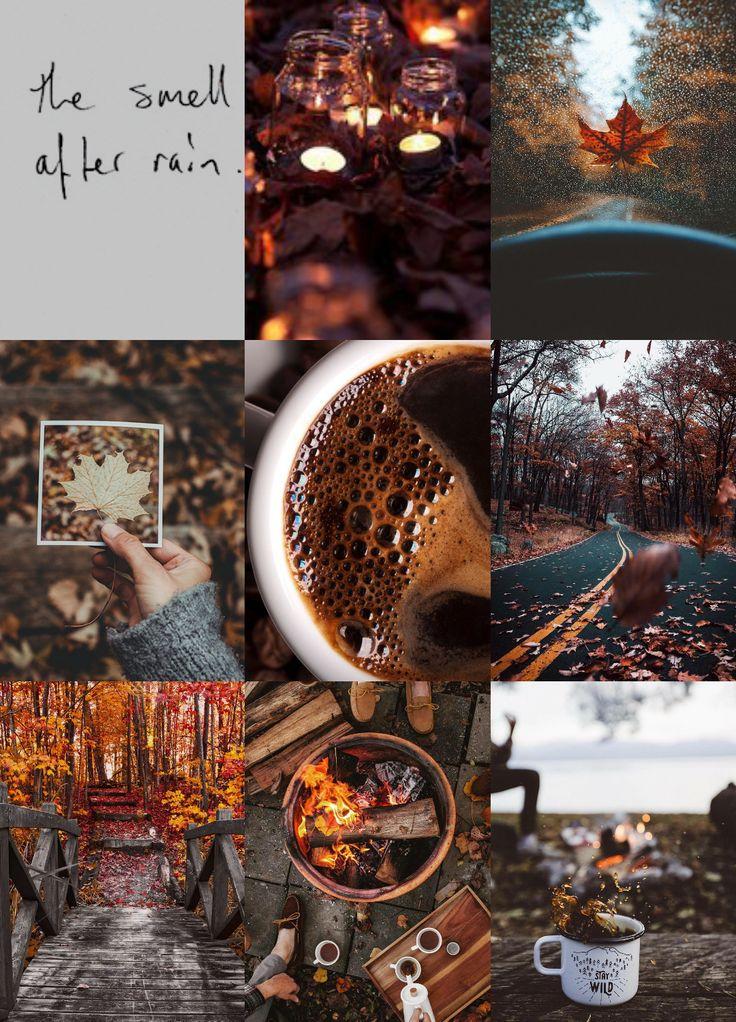 """das schönste: """"Herbst-Eimer-Liste Moodboard Backen, Stricken, Kürbisernten, Lagerfeuer, Kaffee und Kuscheln"""""""