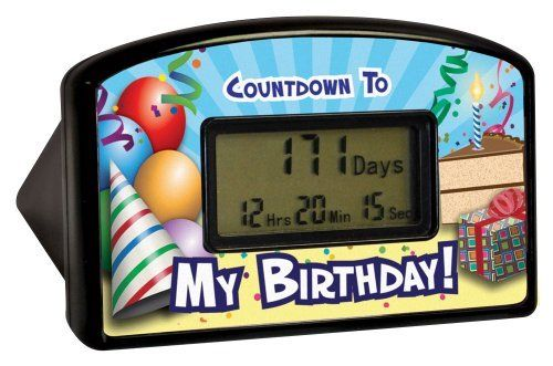 "Big Mouth Toys Countdown Timer - Happy Birthday (Blister) by Big Mouth Toys. $9.27. From the Manufacturer      How long until your next birthday? With this desktop countdown clock you'll know exactly when to start the party. Count down the hours, minutes and seconds with this desktop countdown clock. The clock is 4"" wide by 2.5"" high. Once the clock reaches the milestone, it can be reset to start counting again. Reset it over and over through the year 2099 for years..."