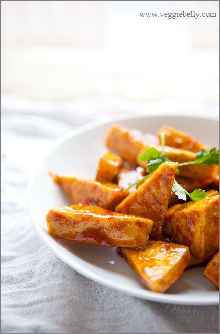 hot and sweet orange marmalade glazed tofu - I used apricot jam - turned out great!  Will definitely make again.