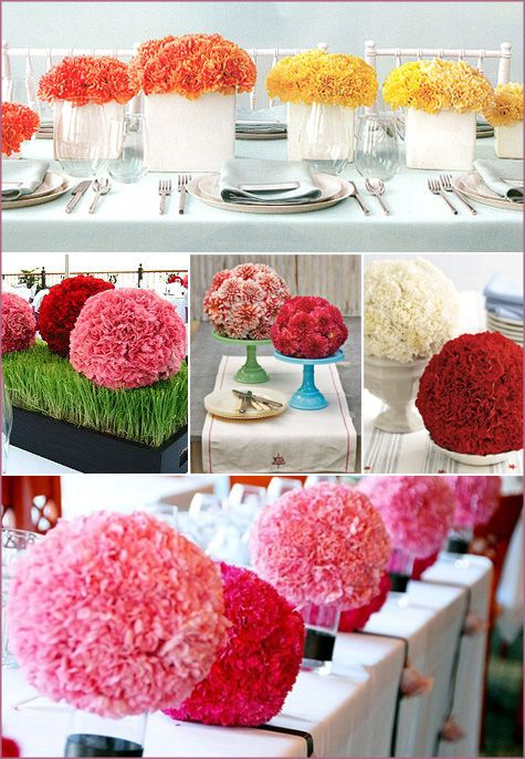 Rose, Carnation, Paper Flower, Ball, Pouf, Pomadour, Party, Wedding, Centerpiece
