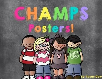 FREE Chalkboard / Melonheadz Themed CHAMPS Posters!! Colorful, Fun, & Cute!!