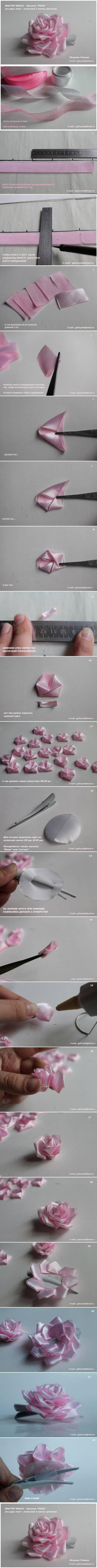 DIY Satin and Organza Ribbon Rose
