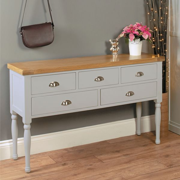 Ideal for a hallway or receptions room, this beautiful grey hallway console table is from our elegant Chadwick furniture range. 5 drawers provide lots of storage. Free Delivery!