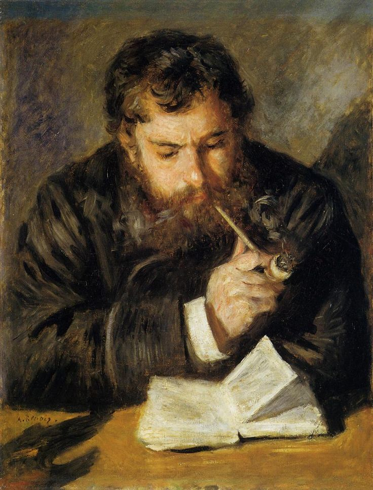"""Pierre-Auguste Renoir, Limoges, France (1841-1919). Impressionist painter. """"Claude Monet (The Reader)"""" (1874). Oil on canvas. National Gallery of Art, Washingon, DC, USA."""