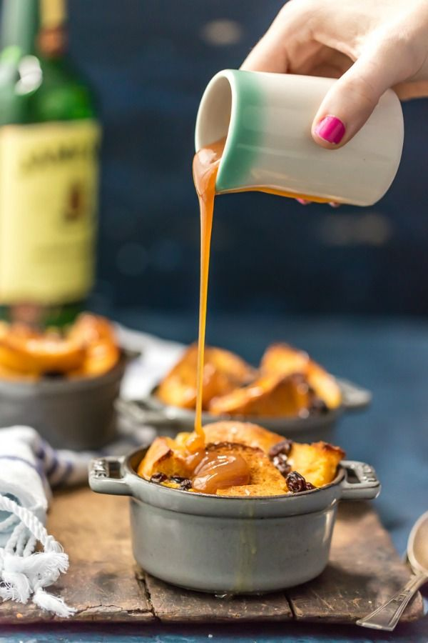 Irish Bread Pudding with Whiskey Caramel Sauce is the perfect dessert for St. Patrick's Day, or any day!