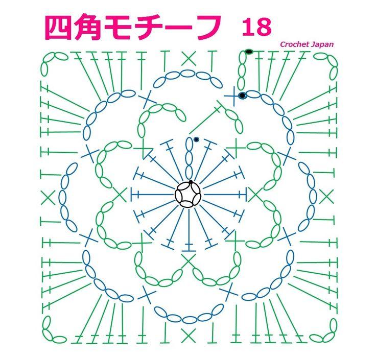 四角モチーフ 18 【かぎ針編み】音声・編み図・字幕で解説 How to Crochet Square Motif https://youtu.be/vJH6evAsONc くさり編み5目の輪の作り目に、 1段目は、くさり編み3目、長編み15目を編み入れて、 2段目と3段目は、くさり編み5目と細編みです。 4段目で、四角い形のモチーフになります。 音声・編み図・字幕で解説しています。
