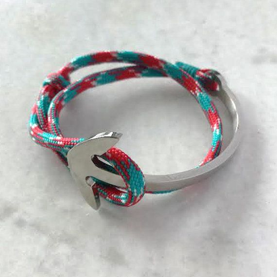 Surfer style stainless steel Anchor half cuff with leather or marine rope - FREE SHIPPING  Stainless steel Anchor bracelet with your choice of