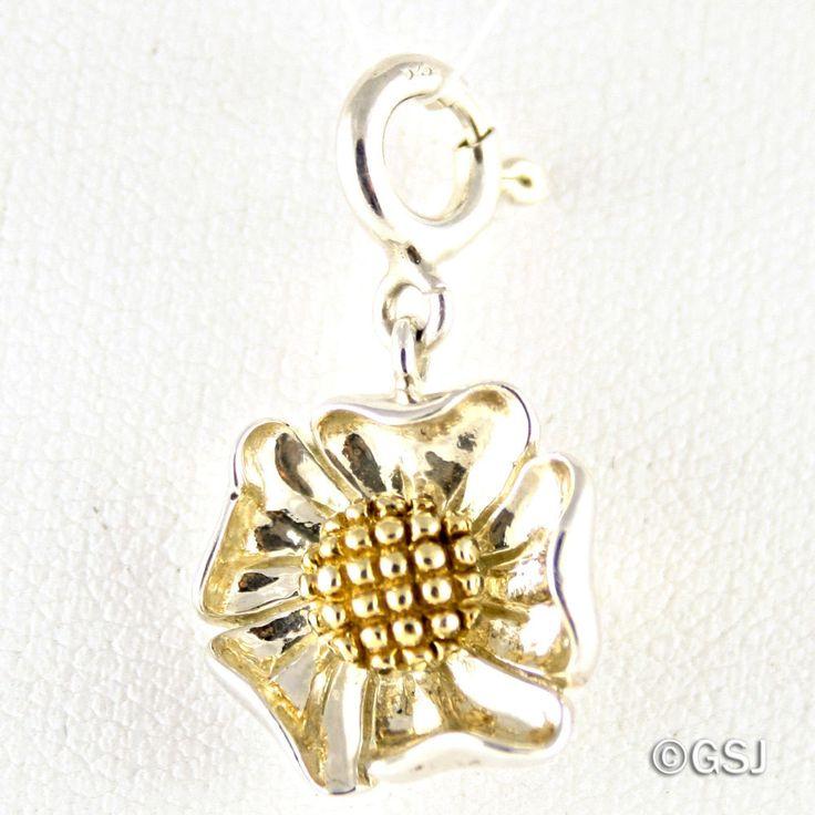 Sterling Silver & 14k Gold Flower Charm w/ Spring Ring Clasp for Bracelet, QVC #QVC #FlowerCharm #MixedMetal #SpringRingClasp