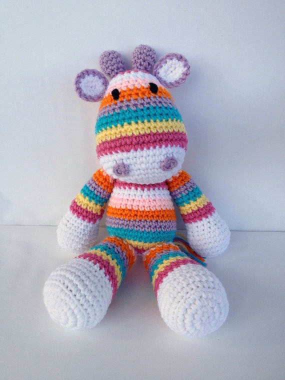 Crochet Giraffe Doll Amigurumi Stuffed Animal by YouHadMeAtCrochet, $36.50