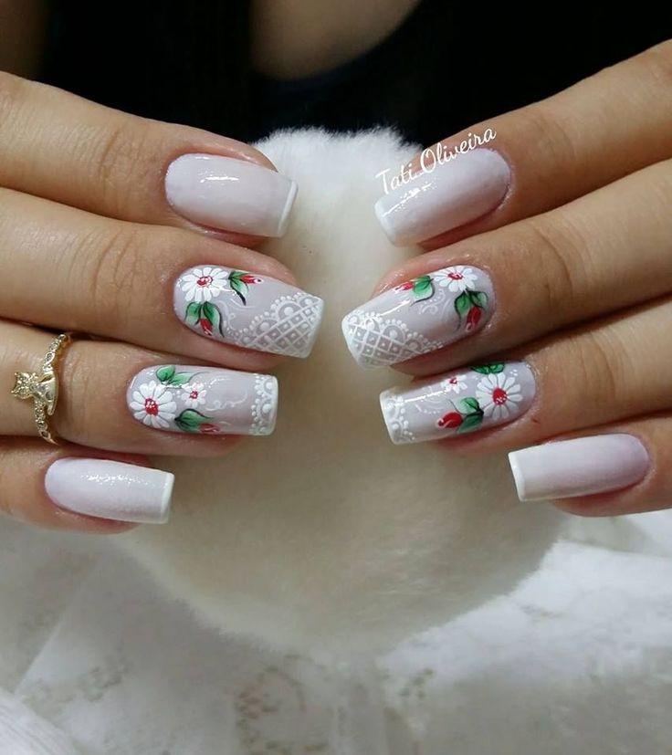 20 Modelos de unhas fancesinhas com flor; veja: #unasdecoradas