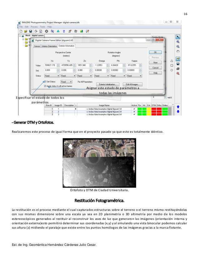16 Est. de Ing. Geomántica Hernández Cárdenas Julio Cesar. - Generar DTM y…