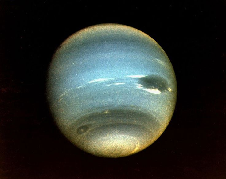(August 25, 1989) Voyager 2 was the first spacecraft to observe the planet Neptune and its two satellites: Triton, the largest, and Nereid. The most obvious feature of the planet is its blue color, the result of methane in the atmosphere. (Credit: NASA)