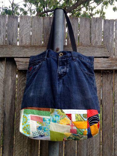 plutôt que de le jeter, voici un tutoriel pour transformer son jean en sac, patchwork, couture... C'est à retouver ICI Le plus+: pour d' autres idées de récup: ICI Bonne couture !