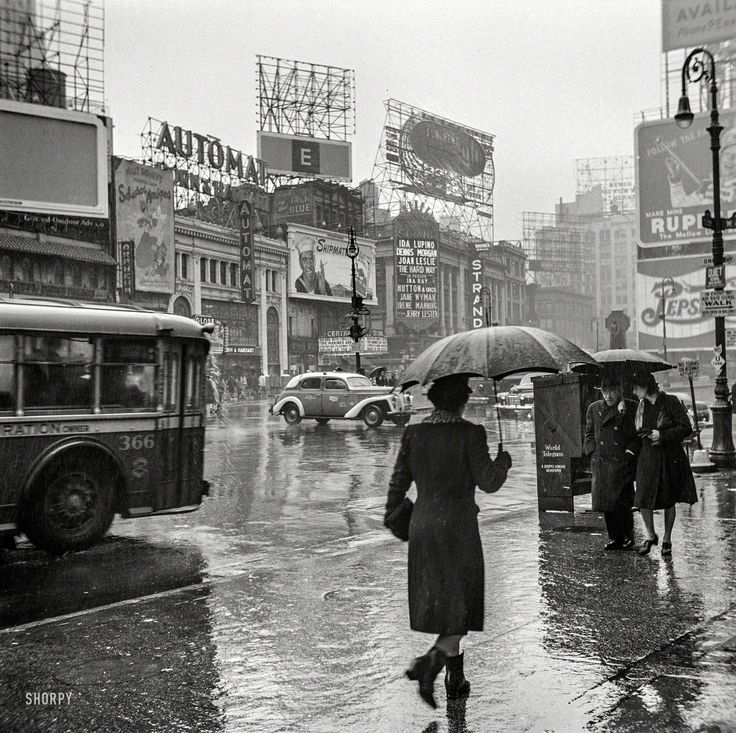 "U.S. Times Square on a rainy day."", NYC, March 1943 // Photo by John Vachon for the Office of War Information. Shorpy Historical Photo Archive ~Repinned Via Patsy Bocook"