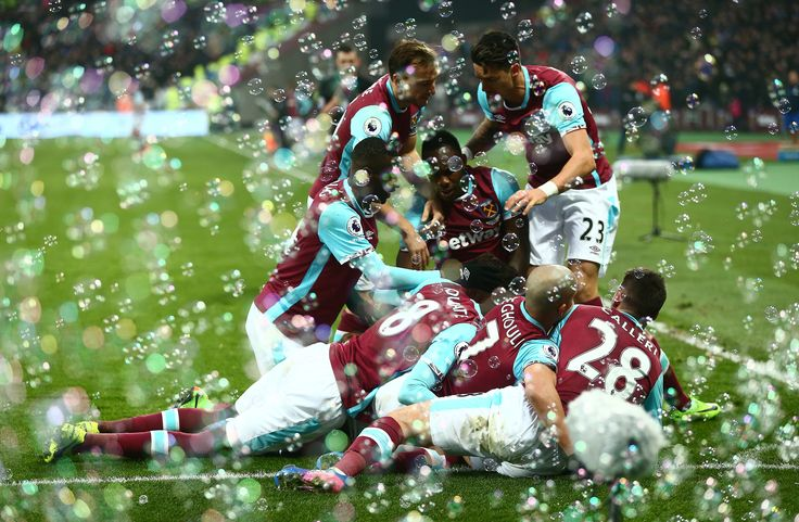 STRATFORD, ENGLAND - FEBRUARY 11: West Ham United players celebrates their team's second goal by Manuel Lanzini (obscured) during the Premier League match between West Ham United and West Bromwich Albion at London Stadium on February 11, 2017 in Stratford, England.  (Photo by Jordan Mansfield/Getty Images) via @AOL_Lifestyle Read more: https://www.aol.com/article/news/2017/02/17/the-best-photos-from-the-week-in-sports-2-10-2-17/21716500/?a_dgi=aolshare_pinterest#fullscreen