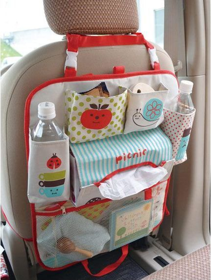 Decolello multi compartment organiser bag for car seats for toys, bottles etc.