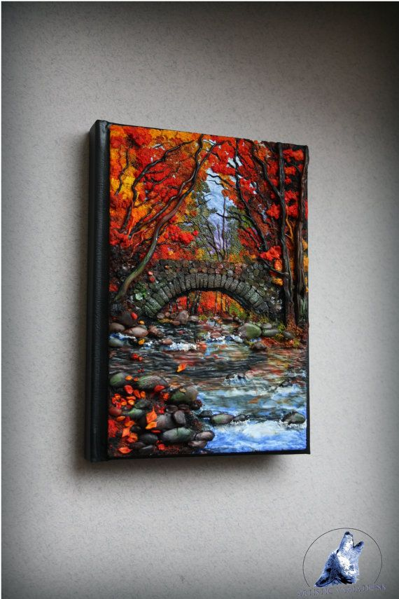 This is another work of mine. Beautiful notebook/journal cover size A6 . Inside the forest there is stream and old bridge made from stone. Perfect as a gift!  ✽ Size A6-[ 148 x 105 mm / 5.8 x 4.1 in ]-only front cover  -If you have any questions Please just ask!  ✈ shipping method: -I send my parcels with a standard delivery via Royal Mail  ✽ You can read more information about my work on my blog:  http://artisticvariations.blogspot.co.uk/  or visit my fanpage FACEBOO...