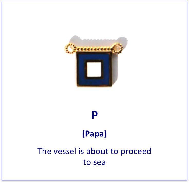 P (Papa) signal flag charm