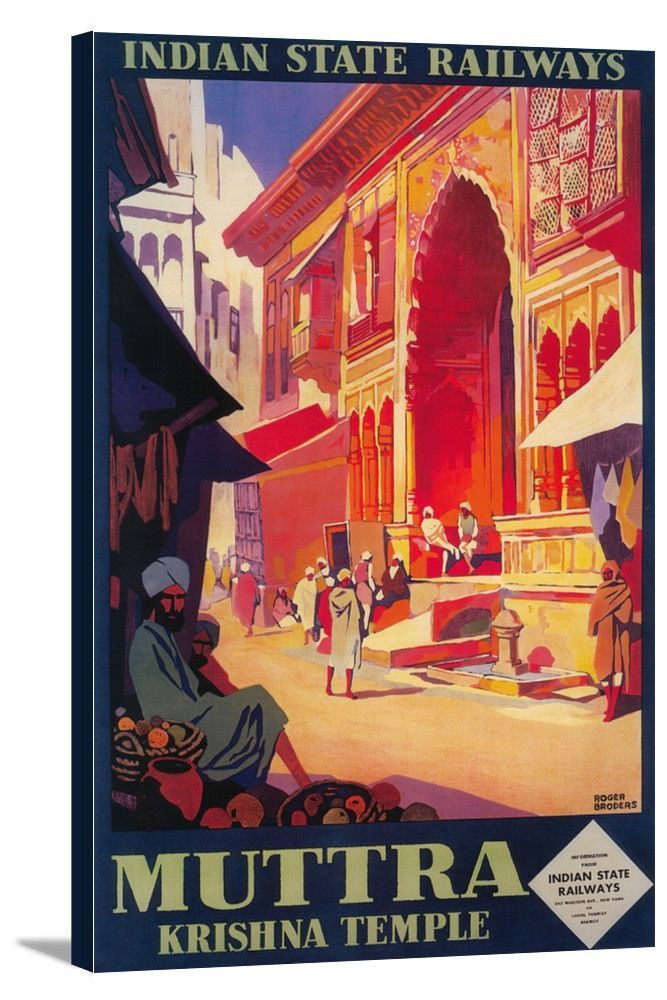 India - Muttra Krishna Temple - Vintage Travel Poster
