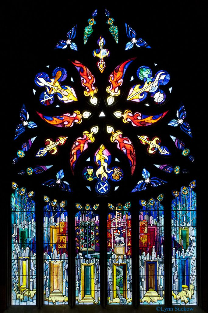 """""""Flaming Stained Glass"""" by walla2chick on Flickr - This stained glass window is in St. Katherine's Aisle of St. Michael's Parish Church in Linlithgow.  It was installed in 1992 to mark the 750th anniversary of the consecration of St. Michael's.  Scottish artist  Crear McCartney design and executed the window.  Each part of the window is symbolic of something."""