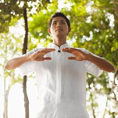 """Exercise when sick: Qi-Gong. """"A 2011 University of Virginia study found that varsity swimmers who did qi gong at least once a week came down with 70 percent fewer respiratory infections that their teammates who practiced it less often."""""""