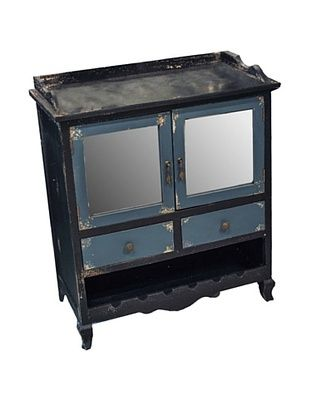 53% OFF Winward Main Street Distressed Wood Cabinet, Black Blue