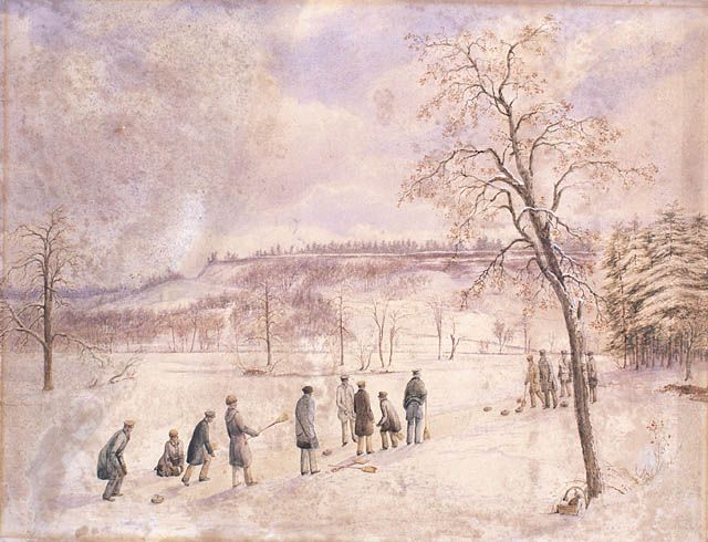 Curling in High Park, Toronto, 1836.