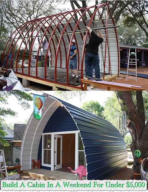 Build A Weekend Cabin For Under $5000 These beautiful, functional, and durable arched cabins are an easy and inexpensive way to create your own dream cabin or vacation home. You can also use them as animal shelters, a spare room or a toy house. The arched cabin arrives in kit that can be assembled in…