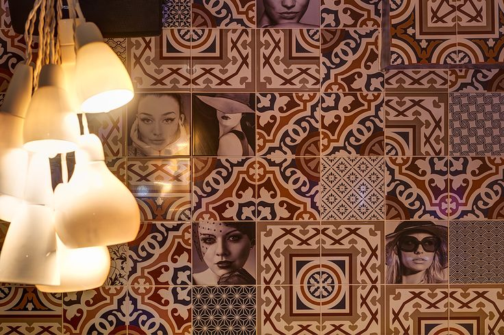 Vintage tiles and lamps.