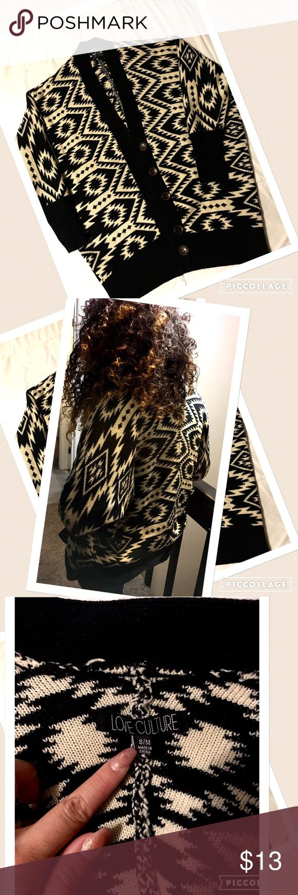 Warm and comfy tribal print sweater! Warm and comfy tribal print sweater! Buttons on front, super cute with jeans and boots! No holes, rips or damage. Love Culture Sweaters