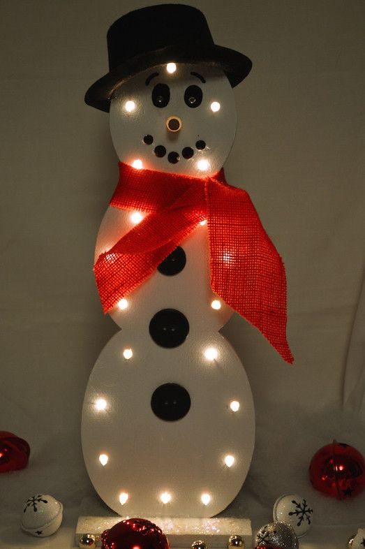 White Light Snowman Wooden Snowmen Mouths And Black