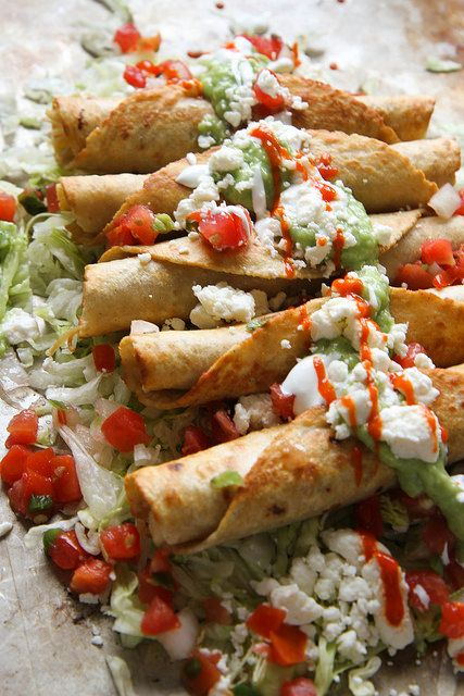 Chicken Flautas with Spicy Avocado Sauce...mmmm!