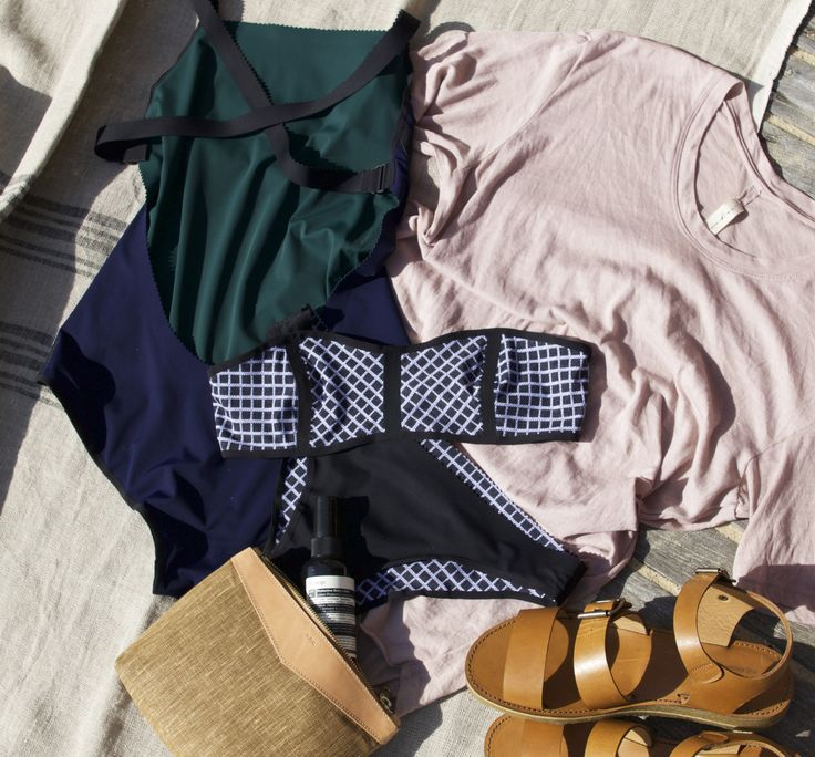 June 2015: Khadi and Co Double Stripe Linen Blanket in Flux. Ward Whillas Edison One Piece Swimsuit in Navy & Green. Ward Whillas Astor Bandeau in Grid Print & Black. Raquel Allegra Combo Mens Tee in Rose. A.P.C Amy Flat Sandal in Caramel. A.P.C. Petite Island Pochette in Camel Aesop SPF50 Protective Body Lotion.