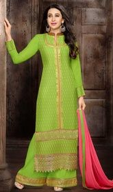 Karisma Kapoor Light Green Color Georgette Palazzo Dress #bollywooddresses #bollywoodanarkalisuitsforsale Set the floor ablaze stepping out in this Karisma Kapoor green color georgette palazzo dress. Beautified with butta, lace, patch, resham and stones work.  USD $ 73 (Around £ 50 & Euro 55)
