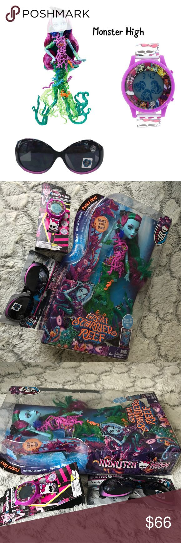 💫NWT🌸SUMMER Girl Monster High 3Piece Set🐝 New Girl Monster High 3Piece Set includes: 1 New Girl Monster High Sunglasses, 1 New Girl Monster High Flashing Character LCD Watch and 1 New Girl Monster High Great Scarrier Reef Toy.  All brand new w Tag and in Box. Mattel Accessories