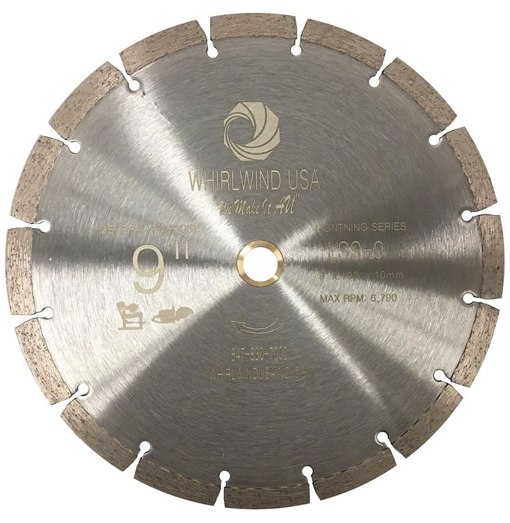 """Whirlwind USA LSS 9 in. Dry or Wet Cutting General Purpose Power Saw Segmented Diamond Blades for Masonry Brick/Block Pavers Concrete Stone (Factory Direct Sale) (9"""")"""