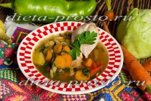 Суп с курицей и овощами по Дюкану – простые супы на каждый день