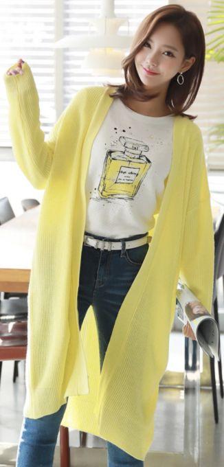 StyleOnme_Sprint Color Loose Fit Long Cardigan #yellow #long #cardigan #cute #koreanfashion #kstyle #kfashion #springtrend #seoul #dailylook