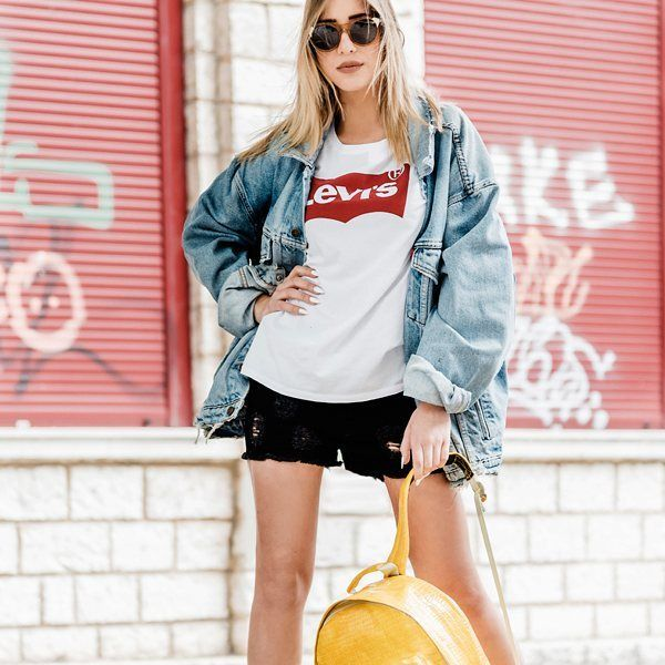 Irenne rocks it with #levis #logo tee #vintage #jacket #wrangler #black #denim #shorts #kaibosh #sunnies and #mipac #croc #backpack #DenimLounge where #UrbanSlackers meet #streetwear  #streetstyle #fashion #fashionblogger #urbanwear #casualwear #casualstyle #outfitoftheday #ootd #outfif #jeans #accessories #trending