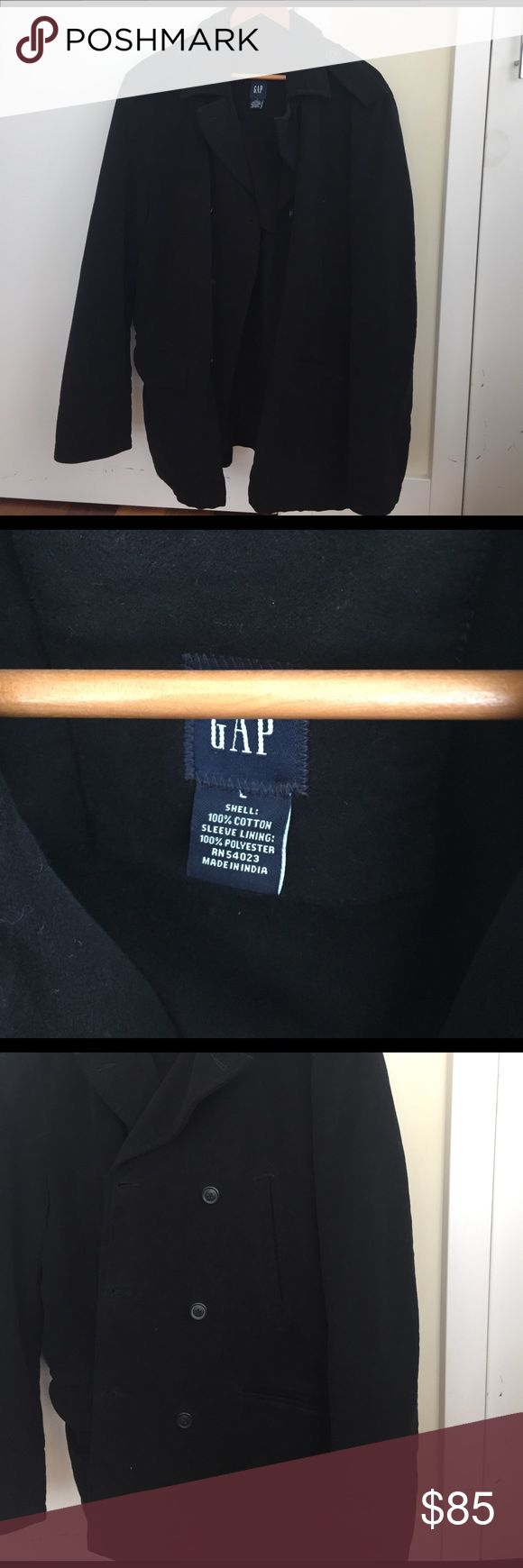 Gap Men Black Felt Peacoat Gap Men Black Felt Peacoat. Worn only once! Great for the winter or evening events GAP Jackets & Coats Pea Coats