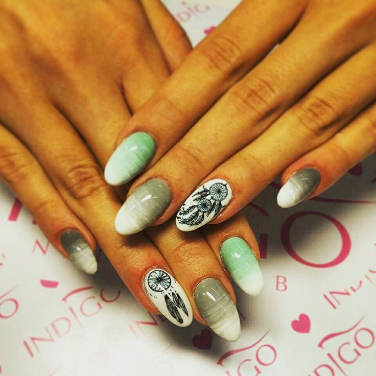 Icon design nails with dream catchers. Ombre mint, grey, white.  https://instagram.com/holla_jazzy/