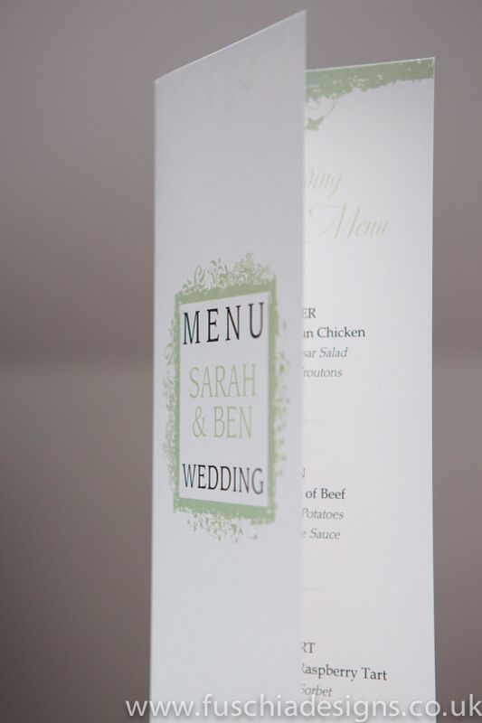 Wedding stationery menu in peppermint green from Picture Frame design. www.fuschiadesigns.co.uk