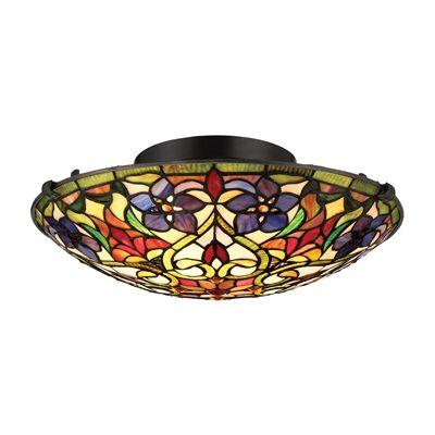 Quoizel TFVT1617VB Violets 2 Light Tiffany Style Floating Flush Mount Ceiling Light