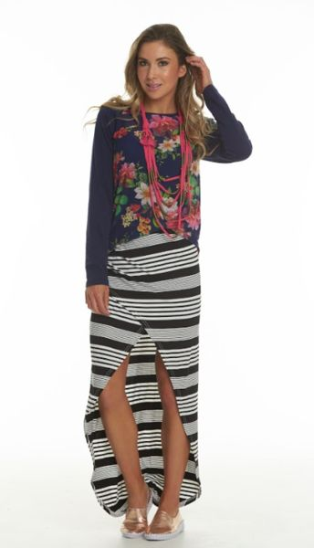 Charlo Skye Victoria Long Sleeve Top Navy stretch knit sleeves & back with Navy floral Mesh front