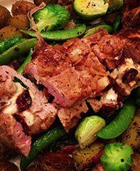 Un souper de Pâques aux saveurs des fromages d'ici: Filet de porc érable et Brie d'ici + Pommes de terres grelots & Légumes verts au beurre et bacon  Miumium @Nathalie Benito Morneau !